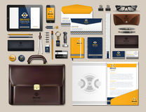 Business corporate identity items set. Vector working articles portofolio, glasses, phone, tablet, maps with brand logos Royalty Free Stock Photos