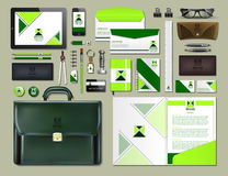 Business corporate identity items set. Vector working articles portofolio, glasses, phone, tablet, maps with brand logos. Work Stuff Stationery 3d realistic Royalty Free Stock Photo