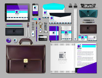 Business corporate identity items set. Vector working articles portofolio, glasses, phone, tablet, maps with brand logos. Work Stuff Stationery 3d realistic Stock Photography