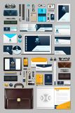 Business corporate identity stationary items set. Vector working articles phone, tablet, maps, cards with brand logos. Work Stuff Stationery 3d realistic Stock Photos