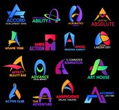 Business and corporate identity symbols. Letter A, business sand corporate identity icons. Accord and ability, acrobatics, aflame and action, angel and atom royalty free illustration