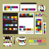 Business corporate identity template with colorful blocks Royalty Free Stock Images