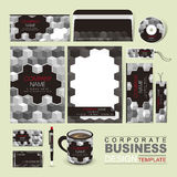 Business corporate identity template with grayscale blocks. Vector business corporate identity template with grayscale blocks Royalty Free Stock Photo