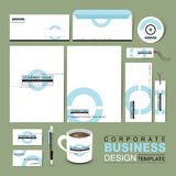 Business corporate identity template with white blue circle Royalty Free Stock Photo