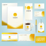 Business corporate identity template with yellow circle Stock Photo