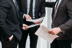 Business corporate men discuss contract agreement Stock Image