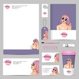 business corporate mock-up with woman wearing pink wig Stock Images