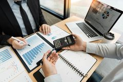 Business Corporate team brainstorming, Planning Strategy having a discussion Analysis investment researching with chart at office stock photos