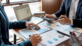 Business Corporate team brainstorming, Planning Strategy having a discussion Analysis investment researching with chart at office royalty free stock photography