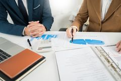 Business Corporate team brainstorming, Planning Strategy having a discussion Analysis investment researching with chart at office royalty free stock image