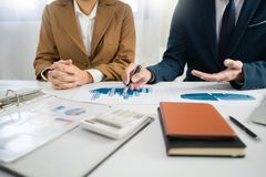 Business Corporate team brainstorming, Planning Strategy having a discussion Analysis investment researching with chart at office royalty free stock photo