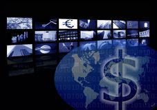 Business corporate, world map, multiple screen. Metaphor mixing photo and ilustration in blue color Stock Photo