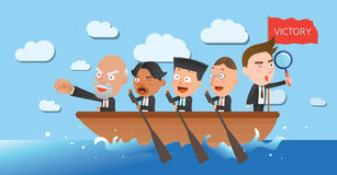 Business corporation team rowing concept flat character Royalty Free Stock Photography