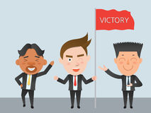 Business corporation victory concept flat character Royalty Free Stock Photo