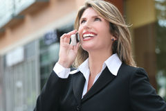 Business, Corproate Woman, on Cell Phone Royalty Free Stock Image