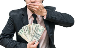 Business with corruption by show the money for close mouth conce Stock Images