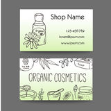 Business with cosmetic bottles. Organic cosmetics illustration. Doodle skin care items. Herbal hand drawn set. Spa elements in sketchy style. Bio cream. Women Royalty Free Stock Images