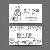 Business with cosmetic bottles. Organic cosmetics illustration. Doodle skin care items. Herbal hand drawn set. Spa elements in sketchy style. Bio cream. Women Stock Photos