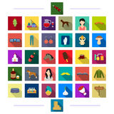Business, cosmetics, knitwear and other web icon in flat style.worship, jewelry, animal icons in set collection. Royalty Free Stock Photography