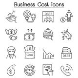 Business Cost , Debt, Tax, Crisis icon set in thin line style Stock Image