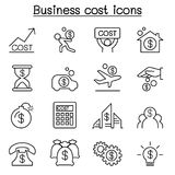 Business cost icon set in thin line style. Vector illustration graphic design Royalty Free Stock Images
