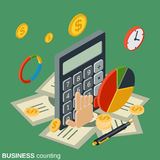 Business counting, financial calculation vector concept. Business counting, financial calculation flat isometric vector concept illustration Royalty Free Stock Photo