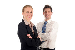 Business couple. Businesswoman and businessman, standing over white background Royalty Free Stock Image