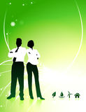 Business Couple on Abstract Light Background with Nature Icons Royalty Free Stock Photo