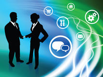Business Couple on Abstract Liquid Background with Icons. 