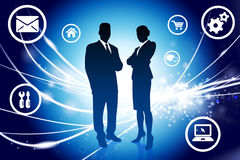Business Couple on Abstract Modern Light Background Royalty Free Stock Photography