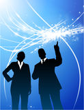 Business Couple on Abstract Modern Light Background Royalty Free Stock Image