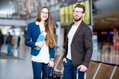 Business couple at the airport Royalty Free Stock Photo