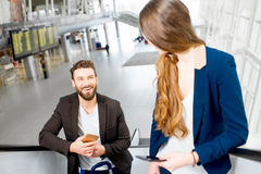 Business couple at the airport Stock Images