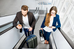 Business couple at the airport Stock Image