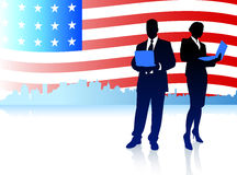 Business Couple with American Flag Background Stock Photography