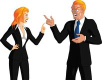 Business Couple Arguing. Vector illustration of smartly dressed blond male and blonde female business partners both pointing wagging a finger at each other and Stock Photography