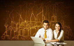 Business couple with buildings and numbers Stock Photo