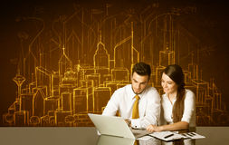 Business couple with buildings and numbers Royalty Free Stock Image