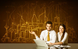 Business couple with buildings and numbers Royalty Free Stock Photo