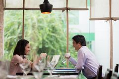 Business couple in the cafe Stock Image