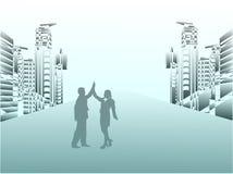 Business couple celebrating success royalty free illustration