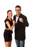 Business couple celebrating success holding fists and screaming Stock Photography