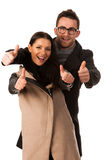 Business couple celebrating success holding fists and screaming Stock Images