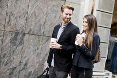 Business couple with a coffee Royalty Free Stock Photo