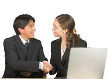 Business couple deal Stock Images