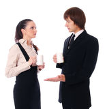 Business couple are discussing over a coffee Stock Images