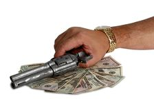 Business for couple of dollars with gun Stock Photos