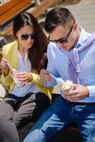 Business couple eating healthy food Stock Photography