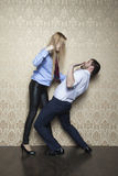 Business couple fights Stock Photos