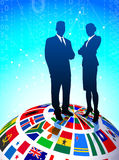 Business Couple with Flags Globe Stock Photos